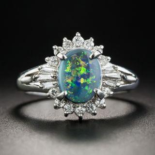 Platinum Black Opal and Diamond Ring