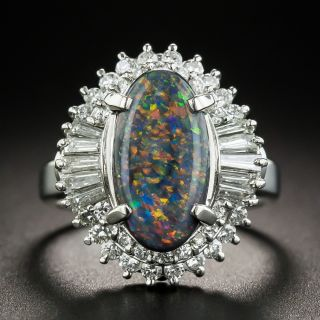 Platinum Black Opal Cabochon and Diamond Cocktail Ring  - 1