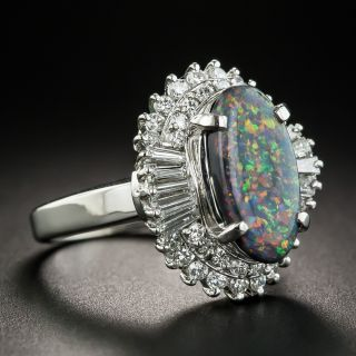 Platinum Black Opal Cabochon and Diamond Cocktail Ring