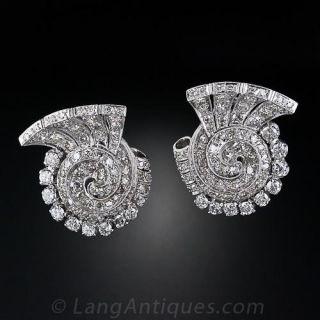 Platinum Diamond Art Deco Ear Clips