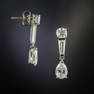 Platinum Diamond Dangle Earrings - GIA