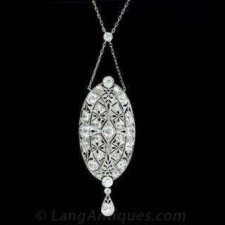 Platinum Diamond Edwardian Lavaliere Necklace - 1