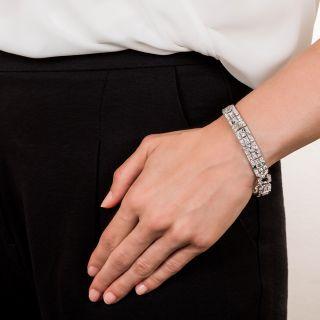 Platinum, Diamond, Emerald and Onyx Art Deco Bracelet