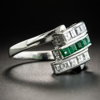 Platinum Emerald and Diamond Art Deco Style Ring