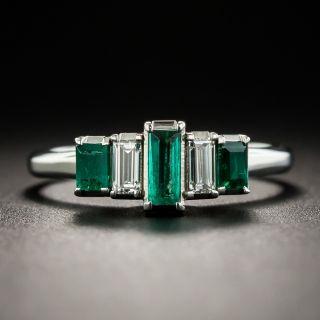 Platinum Emerald and Diamond Ring - 1