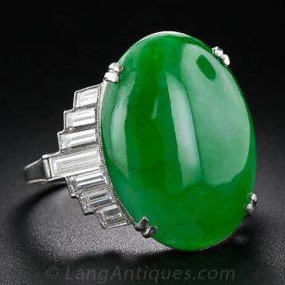 Platinum Jade and Baguette Diamond Ring