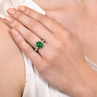 Estate Burmese Jade and Diamond Ring