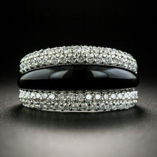 Platinum Onyx Diamond Band Ring - 1
