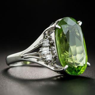 Platinum Peridot and Diamond Cocktail Ring