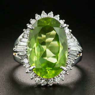 Platinum Peridot Diamond Ring - 1
