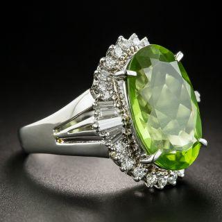 Platinum Peridot Diamond Ring
