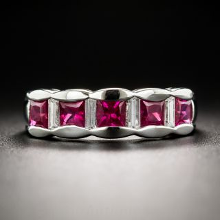 Platinum Ruby and Diamond Band Ring - 1