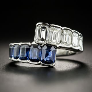 Platinum Sapphire Diamond Bypass Band Ring - 2