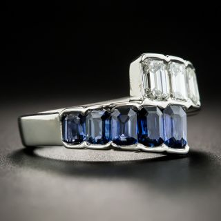 Platinum Sapphire Diamond Bypass Band Ring
