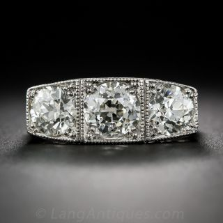 Platinum Three-Stone Art Deco Diamond Ring - 1