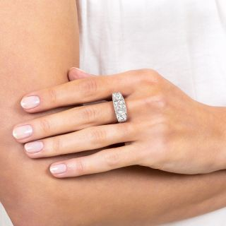 Platinum Three-Stone Art Deco Diamond Ring