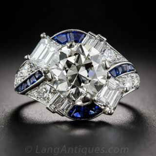 Raymond Yard 3.08 Carat Diamond and Sapphire Ring - 1