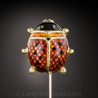 Red Enamel Ladybug Stick Pin