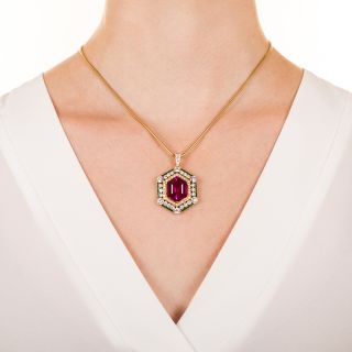 Red Tourmaline, Diamond and Emerald Necklace