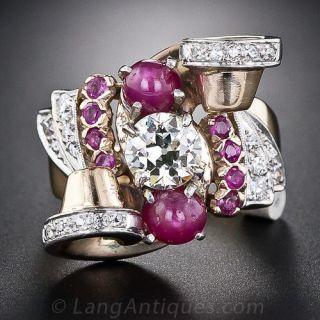 Retro 1.09 Carat Diamond and Ruby Ring