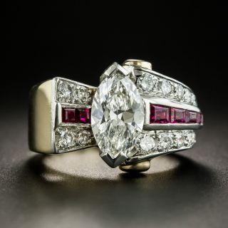 Retro 1.71 Carat MarquiseDiamond Ruby Ring - GIA G SI1 - 2