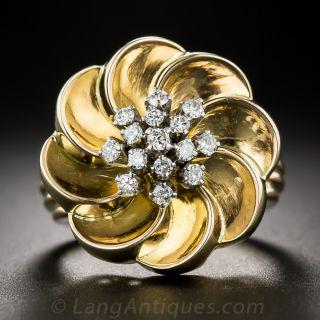 Retro 18K and Diamond Flower Ring