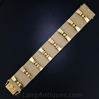 Retro 18k Wide Gold Bracelet
