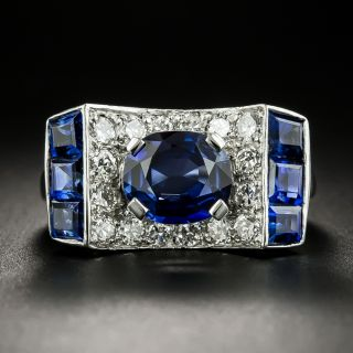 Retro 2.05 Carat No-Heat Sapphire and Diamond Ring - 2