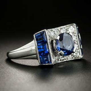 Retro 2.05 Carat No-Heat Sapphire and Diamond Ring