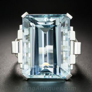 Retro 30 Carat Aquamarine Platinum Ring