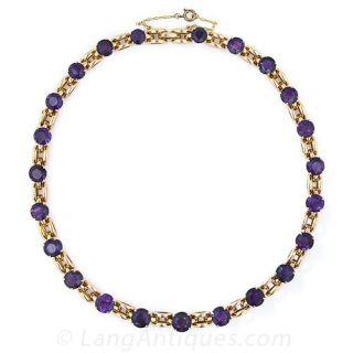 Retro Amethyst Choker Necklace - 2