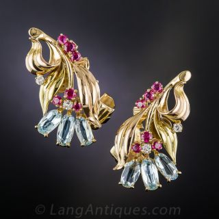 Retro Aqua and Ruby Cluster Earrings