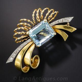 Retro Aquamarine and Diamond Brooch