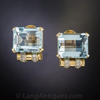 Retro Aquamarine and Diamond Earrings - 2