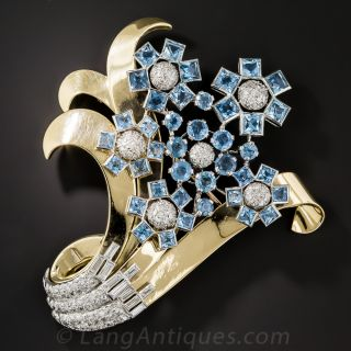 Retro Aquamarine and Diamond Flower Brooch - 2