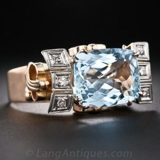 Retro Aquamarine and Diamond Ring