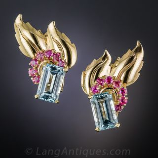 Retro Aquamarine and Ruby Earrings - 1