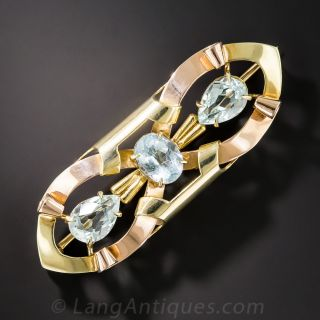 Retro Aquamarine Brooch by Sloan