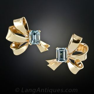 Retro Aquamarine Earrings
