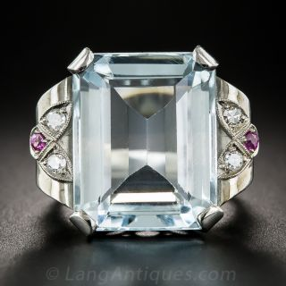 Retro Aquamarine Palladium Ruby and Diamond Ring