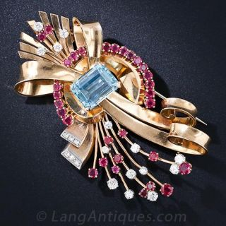 Retro Aquamarine, Ruby and Diamond Brooch