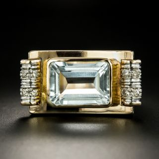 Retro Blue Topaz and Diamond Ring - 2
