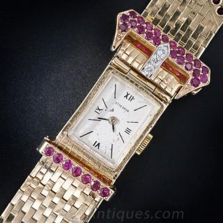 Retro Buckle Bracelet Watch with Rubies and Diamonds - 1