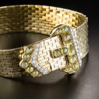 Retro Buckle Bracelet With Cat's Eye Chrysoberyls and Diamonds - 2