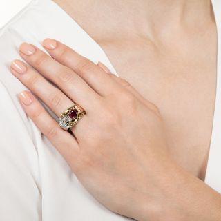 Retro Burma Ruby and Diamond Ring