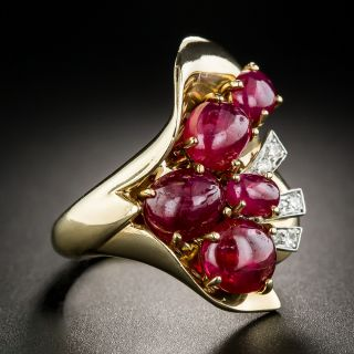 Retro Cabochon Ruby and Diamond Dinner Ring