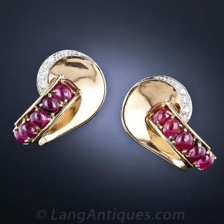 Retro Cabochon Ruby and Diamond Earrings - 1