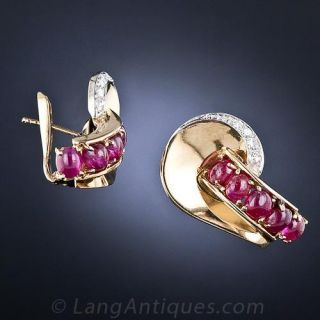Retro Cabochon Ruby and Diamond Earrings