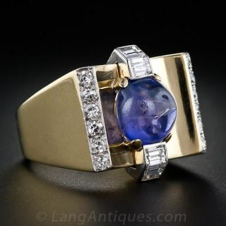 Retro Cabochon Sapphire and Diamond Ring