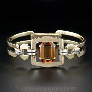 Midcentury Citrine Gold Bracelet